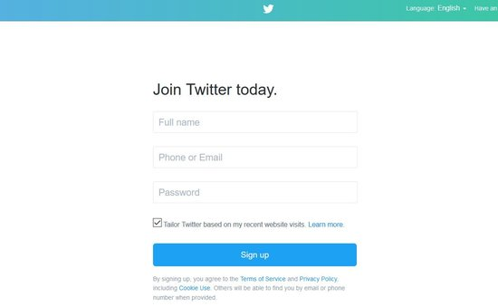 twitter signup free account online